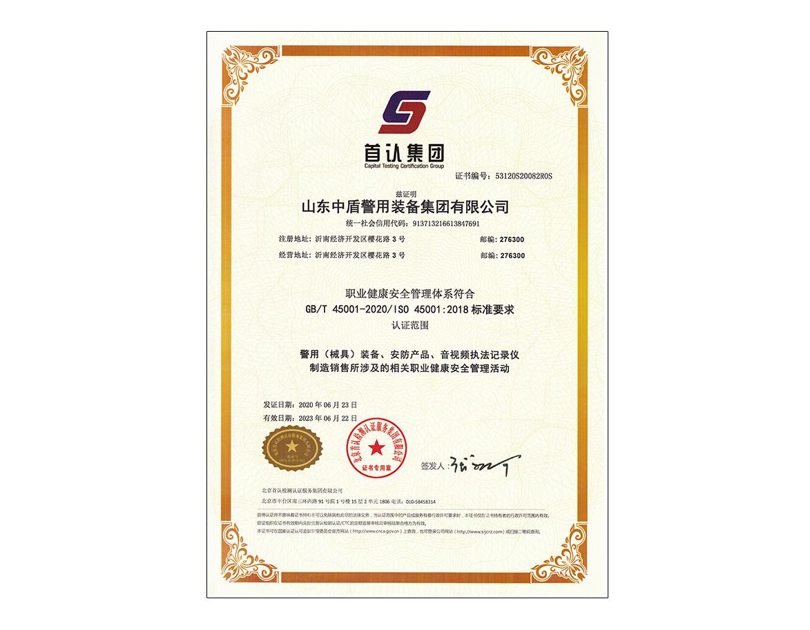 职业健康安全管理体系-认证证书